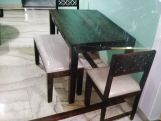 Review Cambrey Compact 4 Seater Dining Set with Bench (Honey Finish)