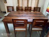 Review Janet Cushioned 6 Seater Dining Table Set (Walnut Finish)