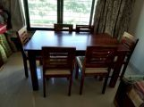 Review Janet Cushioned 6 Seater Dining Table Set (Honey Finish)