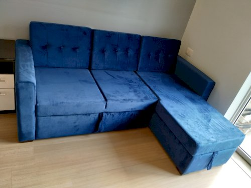 Review Alfonso Right Aligned Convertible Sofa Cum Bed (Cotton, Blue)