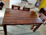 Review Janet 6 Seater Dining Table Set With Bench (Teak Finish)