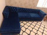 Review Henry L - Shape Left Aligned Corner Sofa (Velvet, Indigo Blue)