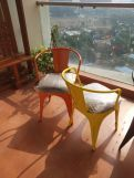 Review Aero Metal Arm Chair With Fabric (Yellow)