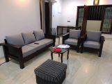 Review Agnes Wooden Sofa Set (Honey Finish)