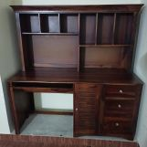 Review Jerold Study Table with Storage Cabinet and Shelves (Walnut Finish)