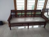 Review Alanis 3 Seater Wooden Sofa (Walnut Finish)