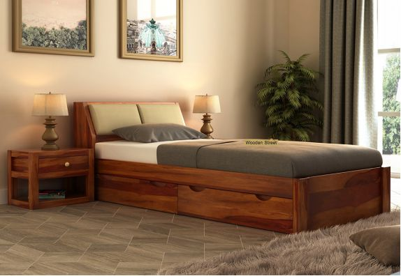 latest single bed designs online, storage single bed furniture online India