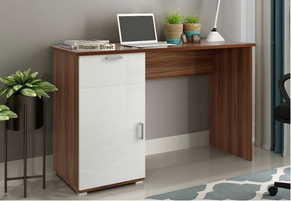 Modular Furniture - Mira Study Table with Frosty White Drawer (Exotic Teak Finish)
