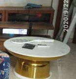Review Discus Metal Coffee Table with Marble Top