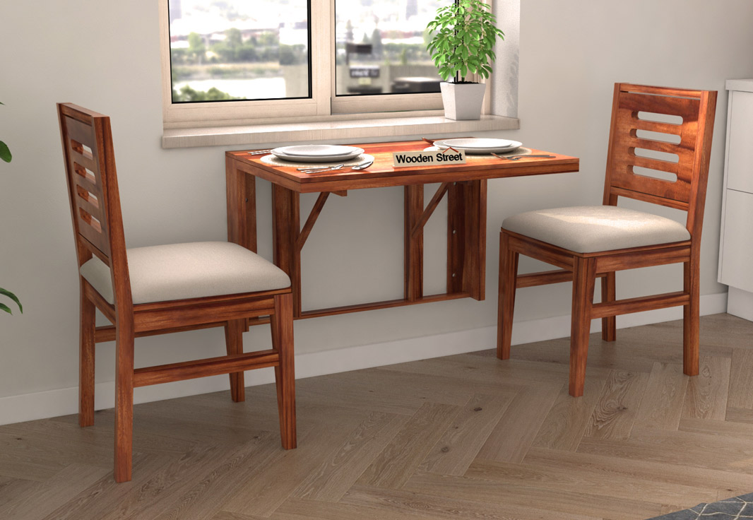 Buy Benz Wall Mount 2 Seater Foldable Dining Set Honey Finish Online In India Wooden Street