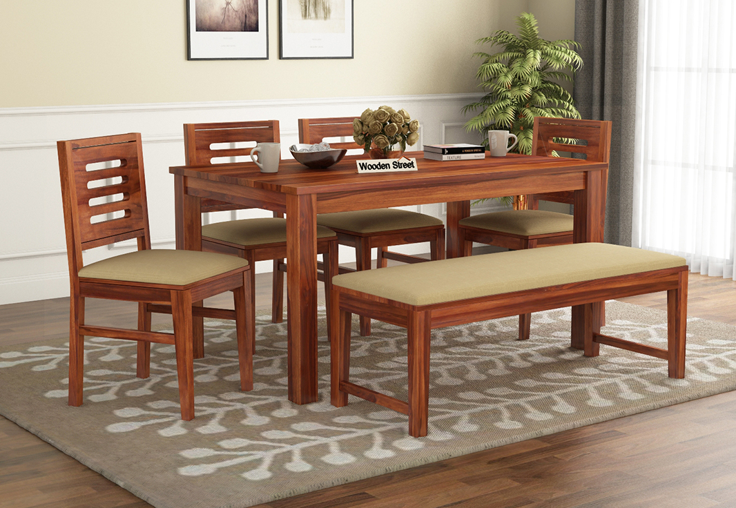 Buy Janet 6 Seater Dining Table Set With Bench (Honey ...