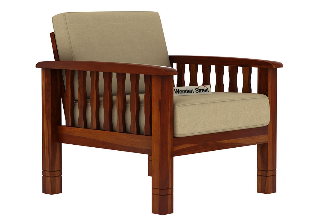 Buy Olympia 1 Seater Wooden Sofa (Honey Finish) Online in ...
